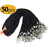 50 Pack Black Lanyard Clip Swivel Hook Bulk 17.5-Inch Badge Lanyards with Clip Lanyards by Bulk Office Cotton Neck Flat Black lanyards for id Badges Key Chains(Black)