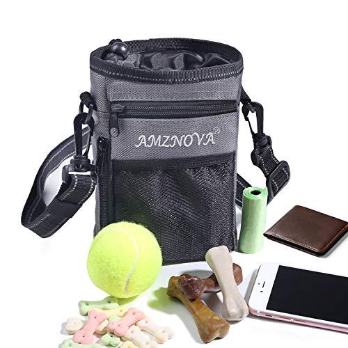 AMZNOVA Dog Treat Pouch, Large Dog Training Treat Bag,Multi-Purpose, Convenient to Carry Toys, Kibble, Treats, Grey