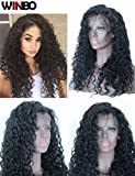 WINBOWIG 8A Human Hair Lace Wig Deep Curl Full Lace Wig Natural Black Color 150% Density With Baby Hair (16 INCH, FRONT LACE WIG)