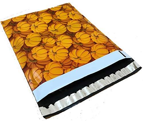 10x13 - Fall Pumpkin Designer Printed Poly Mailers Shipping Envelopes Self Sealing Boutique Custom Bags (30 Pcs)