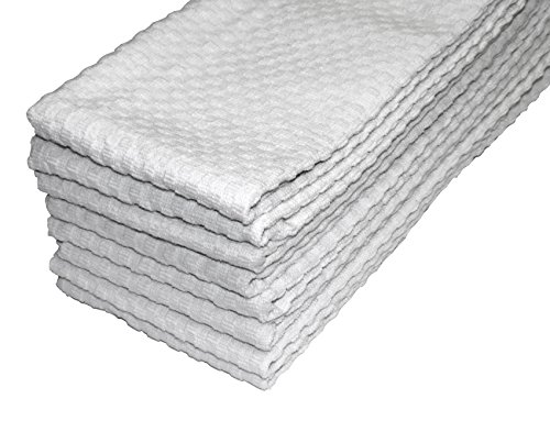 For Cheap Cotton Craft 8 Pack White EuroCafe Waffle Weave Terry Kitchen  Towels 16x28, 100% Ringspun 2 Ply Cotton Highly Absorbent Low Lint, ...