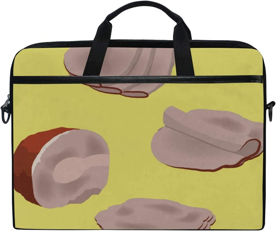 College Students Business People Office Workers Briefcase Messenger Shoulder Bag for Men Women Laptop Bag Meat Ham Pieces 15-15.4 Inch Laptop Case