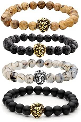 Top Plaza Jewelry Lava Rock Turquoise Matte Agate Picture Jasper Mens Womens Bracelet, Energy Beads, Gold Plated Lion Head