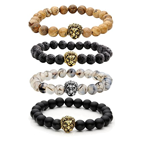 Top+Plaza+Jewelry+Lava+Rock+Stone+Matte+Black+Agate+Mens+Gemstone+Beads+Elastic+Bracelet+W%2FGold+Lion+Head%28Lava+Rock+Stone%2BMatte+Black+Agate%2BIta+Creen%2BPicture+Jasper%29