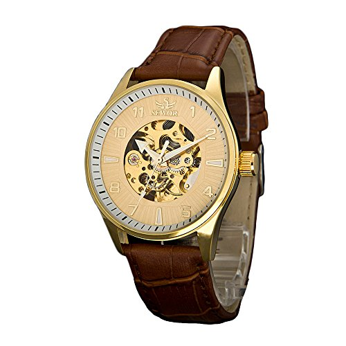Sewor Lover's Automatic Mechanical Leather Wrist Watch For Women Fashion Dress (Gold) (Watch Women Wrist Winding)