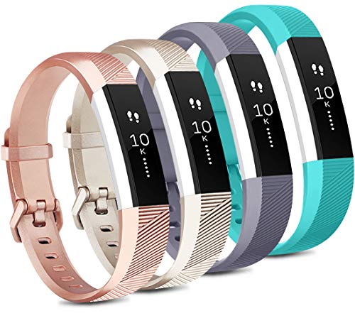 Tobfit 4 Pack Bands Compatible with Fitbit Alta/Alta HR Bands, Soft Sport Silicone Replacement Wristbands for Women Men (Small, Teal/Champagne Gold/Rose Gold/Gray)