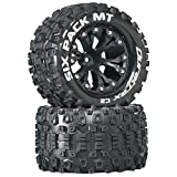 """Duratrax Six Pack MT 2.8"""" RC Monster Truck Tires with Foam Inserts, C2 Soft Compound, Mounted on 1/2"""" Offset Black Wheels (Set of 2)"""
