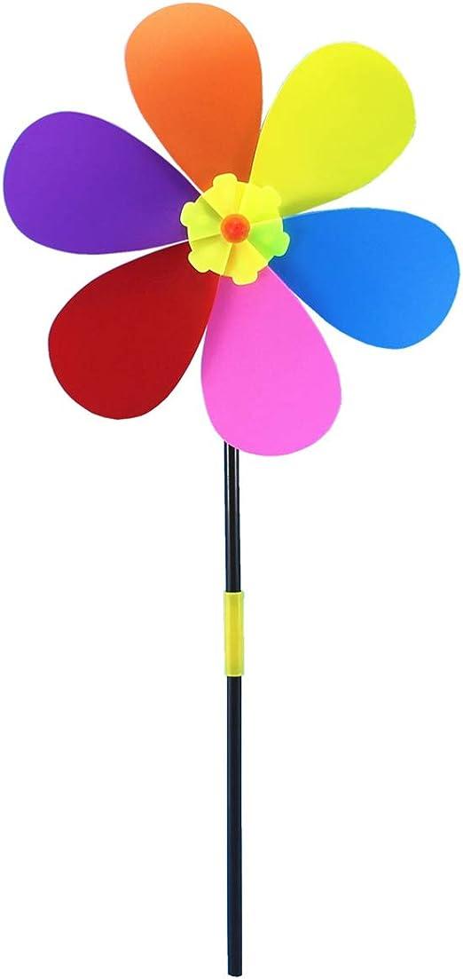 Cabilock Molinillo de Viento de plástico con diseño de Girasol, para jardín, Picnic, decoración de niños: Amazon.es: Jardín