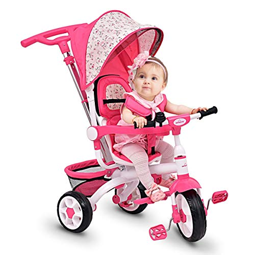 CHOOSEandBUY 4-in-1 Detachable Baby Stroller Tricycle with Round Canopy Children Classic Wheels Comfortable Cushion - Pink