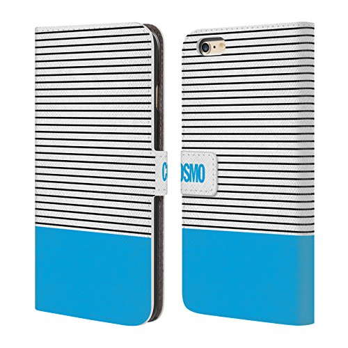 Official Cosmopolitan Sky Blue 1 Stripes Collection Leather Book Wallet Case Cover For Apple iPhone 6 Plus / 6s Plus