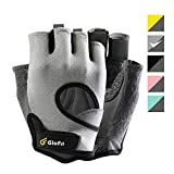 Glofit Freedom Workout Gloves, Knuckle Weight Lifting Shorty Fingerless Gloves with Curved Open Back, for Powerlifting, Gym, Women and Men(Grey, Medium)
