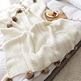 DOUH Pom Pom Throw Blanket, 100% Cotton Knitted Throw Blanket for Sofa Bed Couch Office Super Soft Cable Knitted Blanket (Off-White, 51'x63')