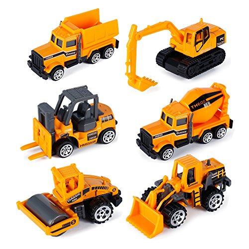 Play Trucks- 6 Pack Metal Construction Vehicles Inertia Toys Dump Trucks Mini Engineering Car Toy Playset for Kids Children Toddlers Boys Girls 3 (Dump Car Type)