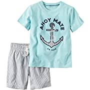 Carters Baby Boys 2-Piece Graphic Tee & Striped Short Set Ahoy Mate, Green, NB