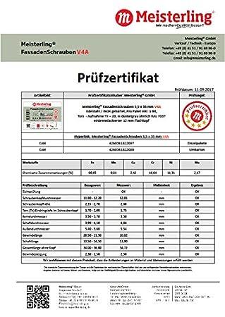 V4a Edelstahl Meisterling/® FassadenSchrauben 5,5 x 35 mm mit Flachkopf
