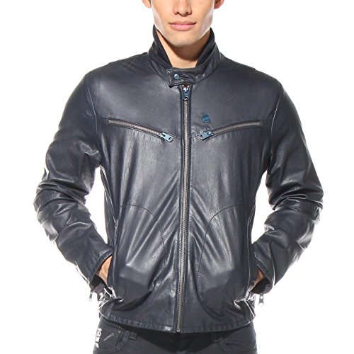 G Star RAW RCT BIKER Leather Jacket in Navy, Size (G-star Leather)