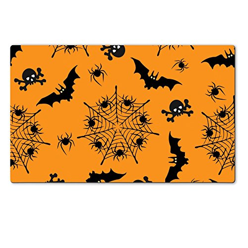 Luxlady Natural Rubber Large TableMat ID: 44638537 Halloween seamless pattern Illustrations of silhouettes of bats skulls webs with (Halloween Bat Crochet Patterns)