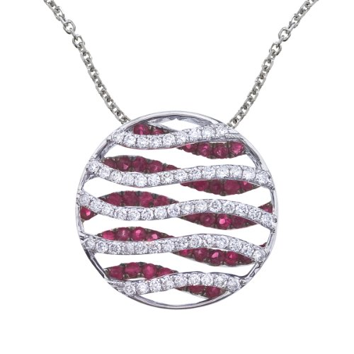 0.98 Carat (ctw) 14k White Gold Round Red Ruby and Diamond Women's Wave Circle Pendant with 18