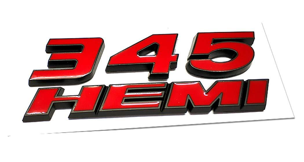 1x 345 HEMI 345HEMI Emblem Badge ABS Decal 3D Logo Replacement for Dodge Challenger Chrysle 300c Black Red Emzscar