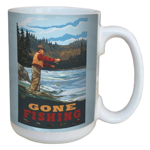 Tree-Free Greetings lm43137 Vintage Fly Fishing Gone Fishing by Paul A. Lanquist Ceramic Mug with Full-Sized Handle, 15-Ounce, Multicolored