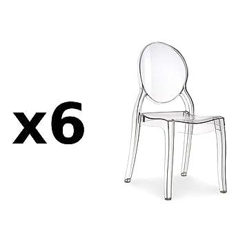 Inside75 Lot de 6 chaises médaillon IMPÉRATRICE Style Louis XVI en  Polycarbonate Transparent