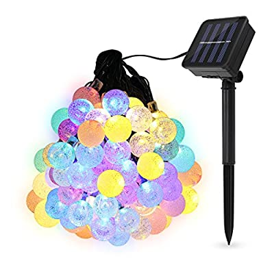 Decorative Solar Lights, TECBOX Outdoor Solar String Lights, 20 ft 50 LED Colorful Crystal Balls- Waterproof Lights for Hanging Tree Home Garden Balcony Patio Festival Summer Xmas-1Pack Multi-color