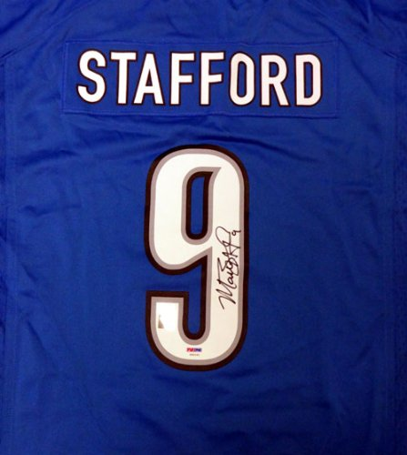 DETROIT LIONS MATTHEW STAFFORD AUTOGRAPHED BLUE NIKE JERSEY SIZE XL PSA/DNA STOCK #52579 ()