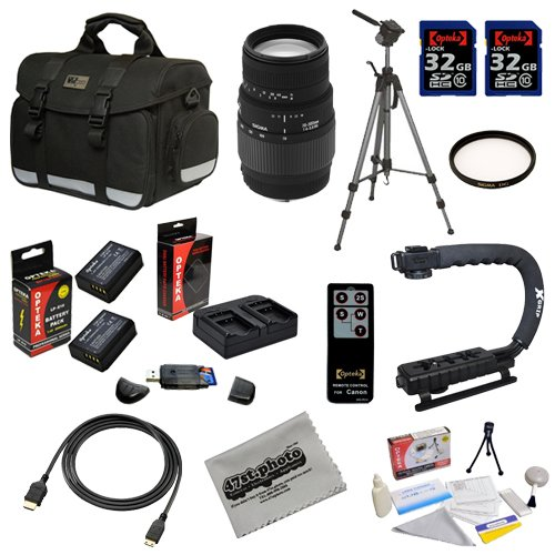Super Pro Accessory Package for the Canon EOS Rebel T3 Digital Camera Featuring Canon SLR Gadget Bag, Sigma 70-300mm f/4-5.6 DG Macro Lens And More by Opteka