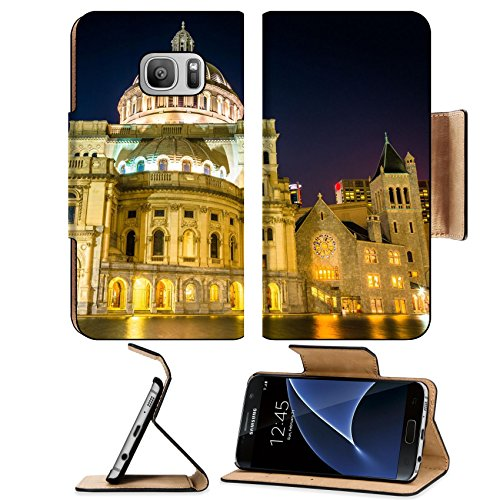 MSD Premium Samsung Galaxy S7 Flip Pu Leather Wallet Case IMAGE ID 33514722 The First Church of Christ Scientist at Christian Science Plaza at night in Boston Massachusetts (Christmas Lights Massachusetts)