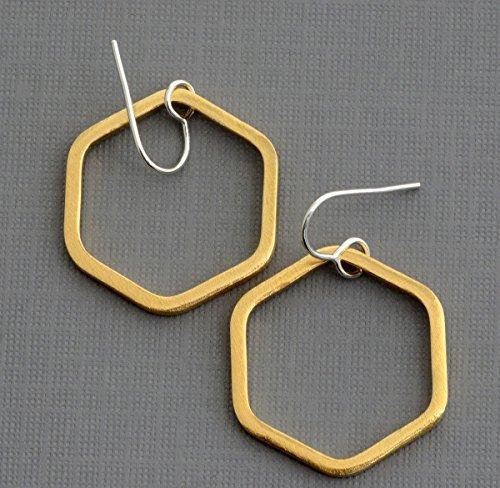 Sterling silver 1 inch gold brass dangle hexagon hoop earrings hypoallergenic jewelry Raw Brass Hoop
