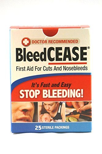 Bleedcease First Aid for Cuts and Nosebleeds Sterile Packings, 25/Box, (Pack of 2) by Catalina Healthcare by Catalina Healthcare.