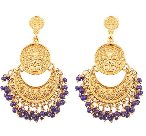 NEW! Touchstone Indian Bollywood Finely Hammered And Embossed Traditional Blue Beads Charming Look Dangling Chand Baali Half Moon Motif Designer Jewelry Earrings In Antique Gold Tone For ()