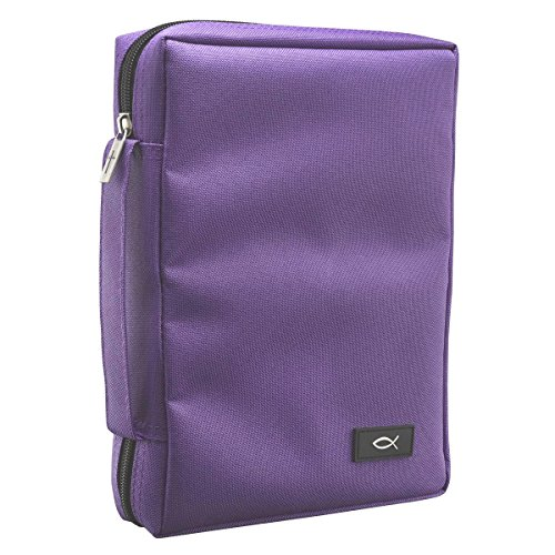 Promo Poly-Canvas Bible / Book Cover w/Fish Applique (Medium, Dahlia Purple) from Christian Art Gifts