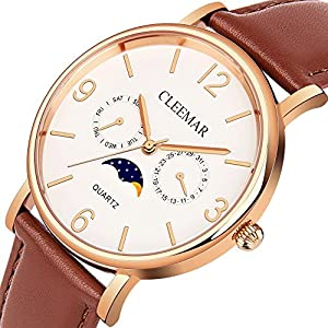 Men and Women's Quartz Watch, Cleemar Classic Fashion Analog Waterproof Wrist Watch with Date, Day/Moon Phase Leather Strap and Stainless Steel Case Brown
