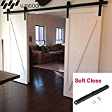 WINSOON Double 6FT Barn Wood Door Hardware American Country Style Sliding Rollers Track Kit with Soft Close Mechanism