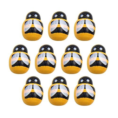 Merssavo 100 Pcs Creative Cute Mini Yellow Wooden Bee Shape Self-adhesive Stickers Fridge Stickers