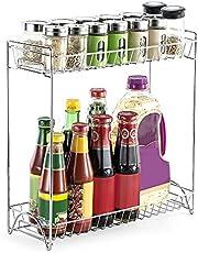 حامل زجاجات من طبقتين من فيست نايت-1، رف قائم بالمطابخ والحمامات وعلى سطح المكتب لتخزين وتنظيم الزجاجات مع رف من الكروم