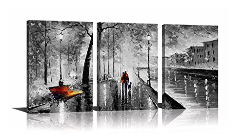 - YPY 3 Panel Palette Knife Oil Paintings Abstract Modern City Street View Cityscape Building Artwork Walking Wall Art for Living Room (Black, 16x24in)