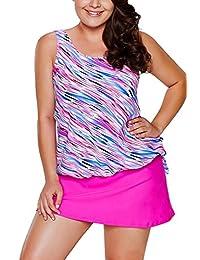 WoldGirls Womens Plus Size Two Pieces Tankini Swimsuit Leaf Print Tie Side Short