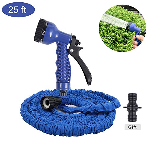 Cuteadoy Garden Hose, 25ft Magic Lightweight Expandable Garden Hose with Water Hose Quick Connector, Extra Strength Fabric Protection Hose for All Your Watering Needs (Blue 25ft)