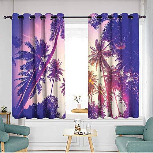 XXANS Sliding Door Curtains,Palm Tree,for Bedroom Grommet Drapes,for Bedroom Grommet Drapes, - Tree Palm Bamboo Door Curtain