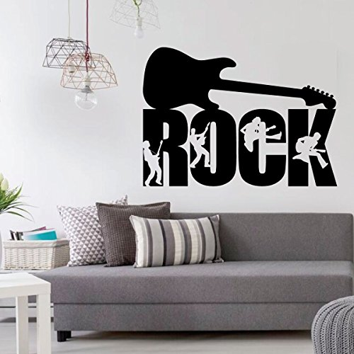 Rock Guitar Wall Decor - Guitar Players Silhouette - Music Studio Decor - Vinyl Decorations for Home, Bedroom or Playroom - Musician - Keyboard Fender Amp