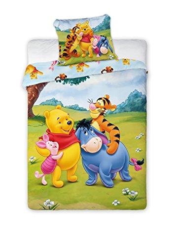 Kinderbettwäsche Disney III 2-teilig 100% Baumwolle 40x60 + 100x135 cm mit Reißverschluss (Winnie Puuh)