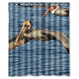Hot Sale Flying Brown Pelicans Birds Waterproof Bathroom Decor,Polyester Fabric Shower Curtains,60(w) x 72(h)
