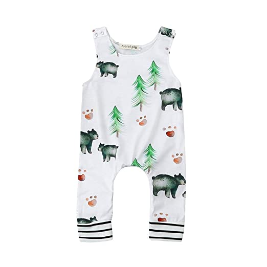 63c9cbc18a44 Allywit Toddler Newborn Baby Boys Girls Bear Trees Romper Jumpsuit Outfits  Clothes (6M