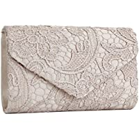 Jubileens Women's Elegant Floral Lace Envelope Clutch Evening Prom Handbag Purse