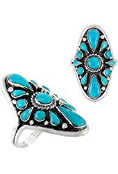 925 Sterling Silver & Genuine Turquoise Ring Sizes 5 to 12