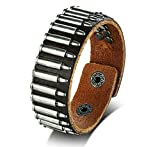 Men's Punk Brown Genuine Leather Rugged Studded Metal Bullet Snap Leather Bracelets for Men Boys