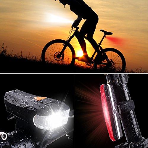 Bike Light Combination Set USB Rechargeable Bicycle Light ...