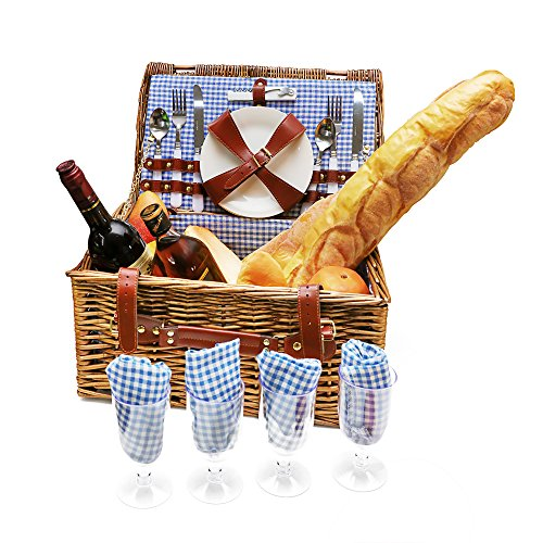 Four Wicker Baskets - Wicker Picnic Basket Set 4 Person Picnic Basket Hamper Set with Flatware, Plates and Wine Glasses Includes Blue Checked Pattern Lining